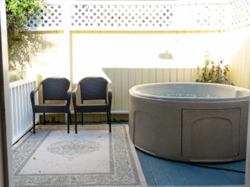 A hot tub sits in a room